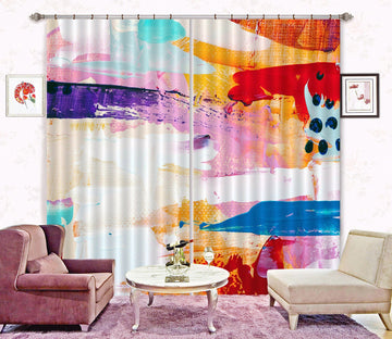 3D Color Smear 86 Curtains Drapes