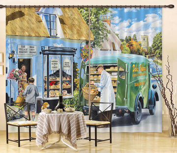3D The Village Bakery 111 Trevor Mitchell Curtain Curtains Drapes