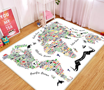 3D Color Painting 264 World Map Non Slip Rug Mat