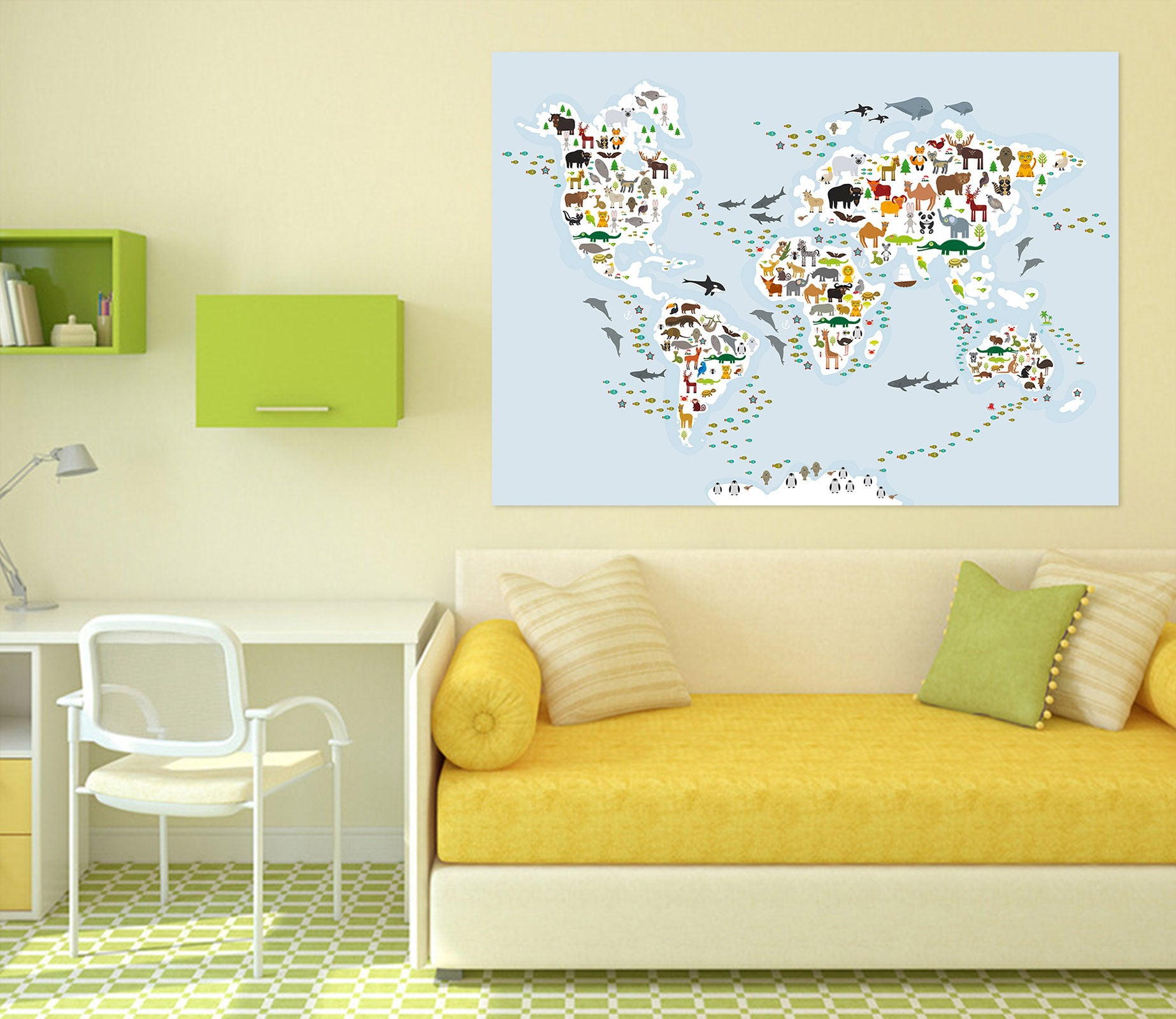 3D Animal Island 268 World Map Wall Sticker