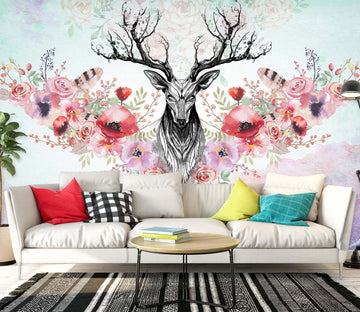 3D Flower Deer 1452 Wall Murals