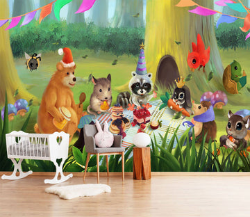 3D Animal Picnic 463 Wallpaper AJ Wallpaper 2