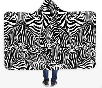 3D Zebra Pattern 408 Hooded Blanket