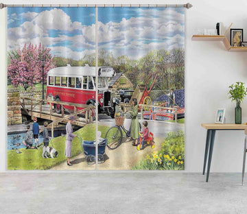 3D The Old Swing Bridge 103 Trevor Mitchell Curtain Curtains Drapes