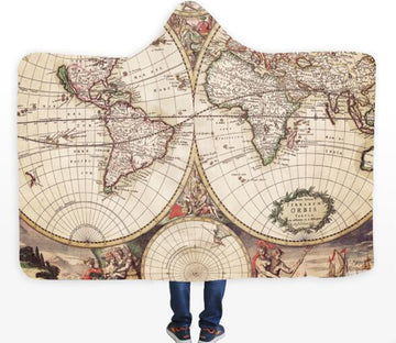 3D Religious World Map 325 Hooded Blanket