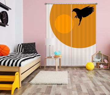 3D Yellow Sun Bird 1118 Boris Draschoff Curtain Curtains Drapes