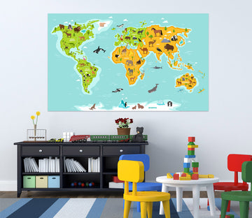 3D Colored Land 292 World Map Wall Sticker