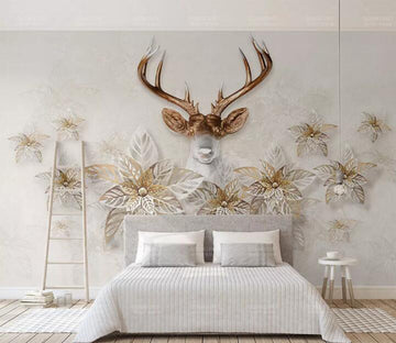 3D Flower Deer WC103 Wall Murals