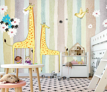 3D Yellow Giraffe 010 Wall Murals