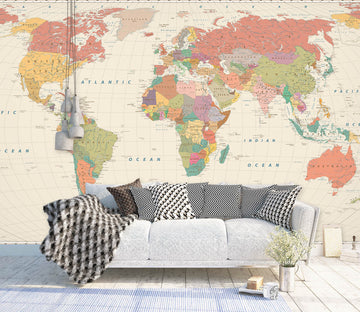3D Yellow World Map 1134 Wall Murals