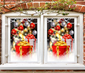 3D Gift 42194 Christmas Window Film Print Sticker Cling Stained Glass Xmas