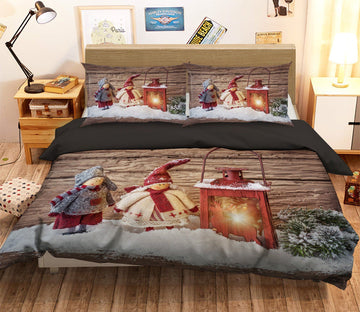 3D Christmas Doll Oil Lamp 11 Bed Pillowcases Quilt
