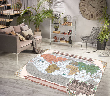 3D Color Painting 246 World Map Non Slip Rug Mat