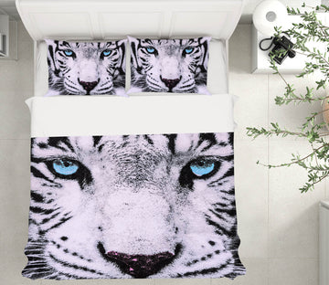 3D White Tiger 21057 Bed Pillowcases Quilt