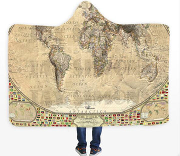 3D World Map 335 Hooded Blanket