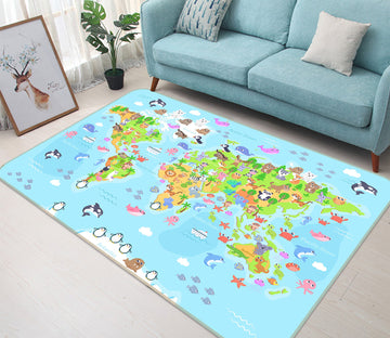 3D Island Life 299 World Map Non Slip Rug Mat