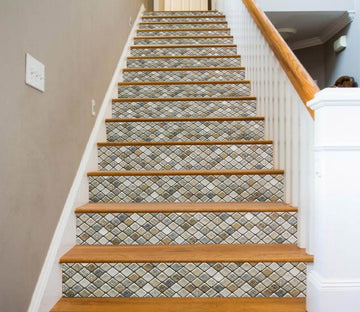 3D Retro Button Mosaic 912 Marble Tile Texture Stair Risers Wallpaper AJ Wallpaper