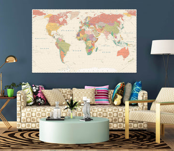 3D Yellow World Map 1089 Wall Sticker