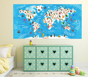 3D Animal Picture 239 World Map Wall Sticker
