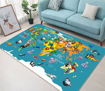3D Colored Island 277 World Map Non Slip Rug Mat