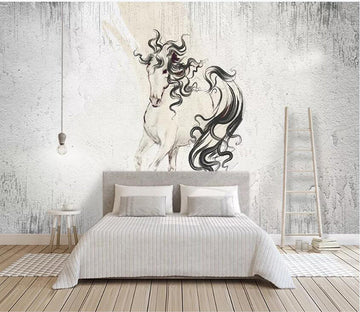 3D Grey Horse 1002 Wall Murals