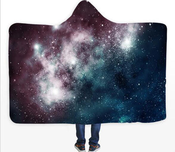 3D Galaxy Cloud 127 Hooded Blanket