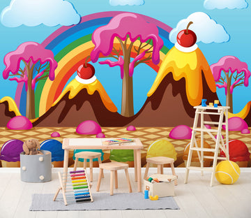 3D Rainbow Ice Cream 011 Wall Murals