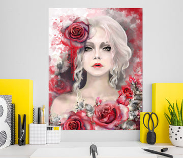 3D Beautiful Rose Woman 1012 Wall Sticker