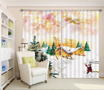 3D Christmas Tree House 41 Curtains Drapes Curtains AJ Creativity Home