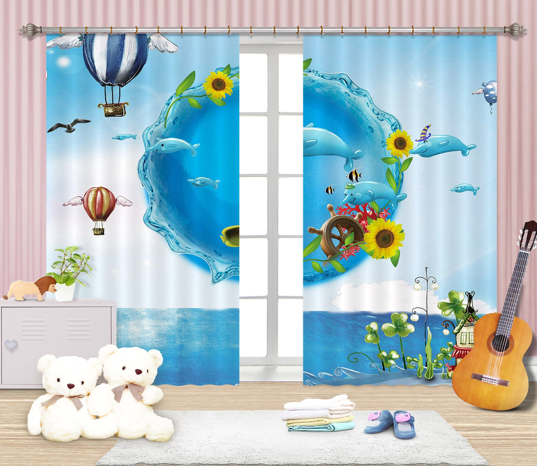 3D Blue Balloon 726 Curtains Drapes