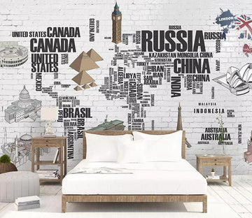 3D Map Building WC791 Wall Murals
