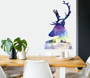 3D Blue Shadow Deer 51 Wall Stickes