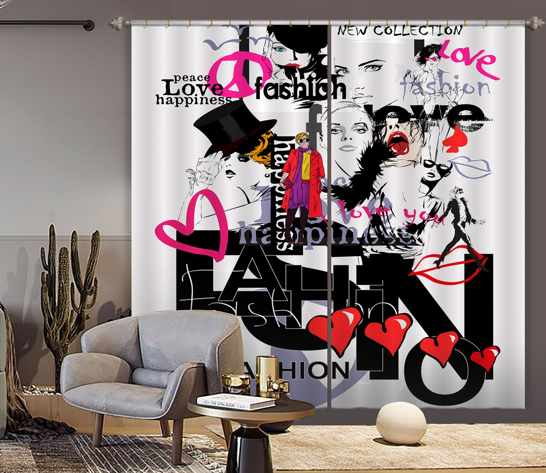 3D Color Graffiti 722 Curtains Drapes