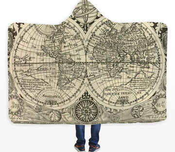 3D Earth World Map 336 Hooded Blanket