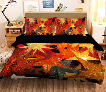 3D Christmas Maple Leaf 14 Bed Pillowcases Quilt