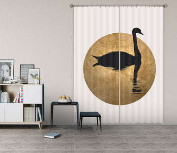 3D Black Swan 1125 Boris Draschoff Curtain Curtains Drapes