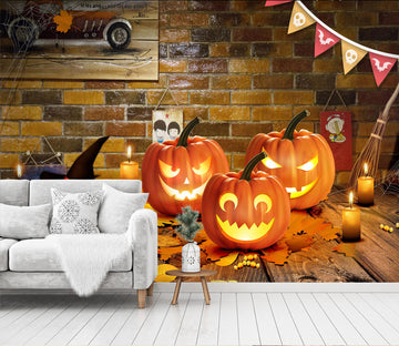 3D Maple Leaf Pumpkin 1001 Halloween Wall Murals