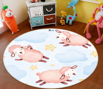 3D Sheep Clouds 64154 Round Non Slip Rug Mat