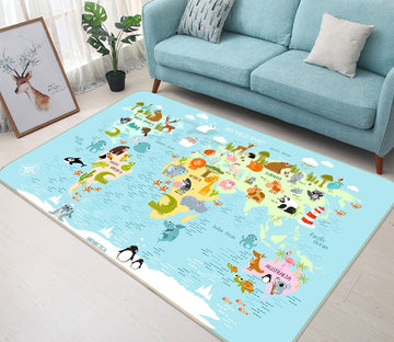 3D Animal Park 305 World Map Non Slip Rug Mat