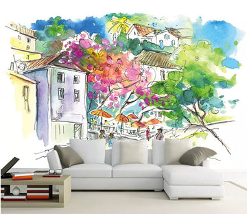 3D House Flower 1123 Wall Murals