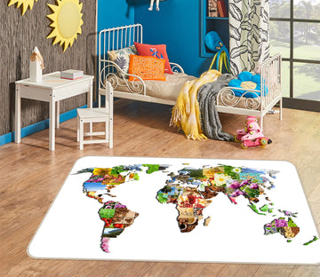 3D Colored Territory 227 World Map Non Slip Rug Mat