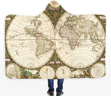 3D Believers World Map 328 Hooded Blanket