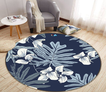 3D Leaves Flowers 64158 Round Non Slip Rug Mat
