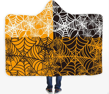 3D Black Spider Web 178 Hooded Blanket