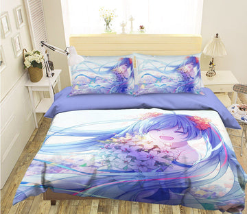 3D Hatsune Miku 45 Anime Bed Pillowcases Quilt