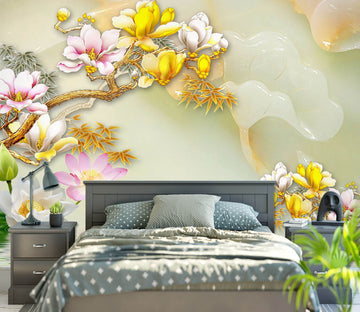 3D Golden Flowers 1633 Wall Murals
