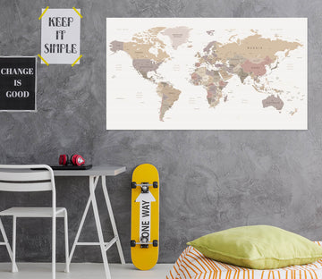 3D Grey World Map 1084 Wall Sticker