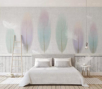 3D Colored Feathers WC130 Wall Murals