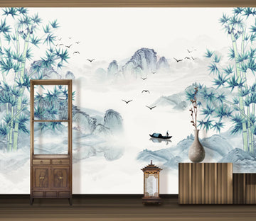 3D Bamboo Boat WC1335 Wall Murals
