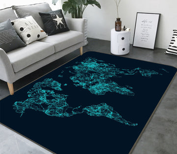 3D Night World 323 World Map Non Slip Rug Mat